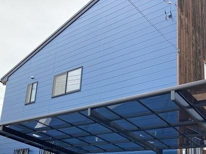 ブルー基調での外壁塗装を行った水戸市の現場