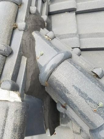 棟漆喰の剥離補修