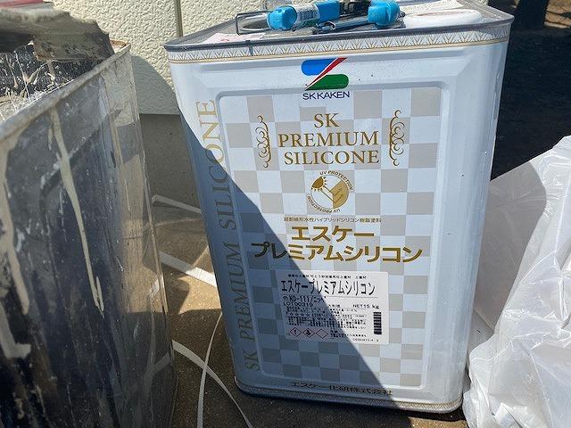 ひたちなか市の現場で使用するエスケープレミアムシリコンの一斗缶