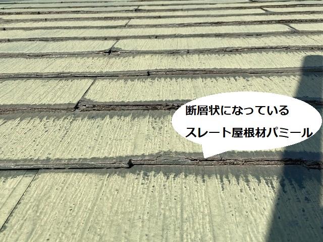 断層状になっているのが画像からもわかるスレート屋根材パミール