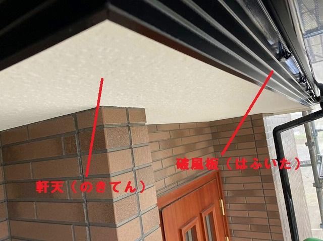 付帯部の軒天と破風板