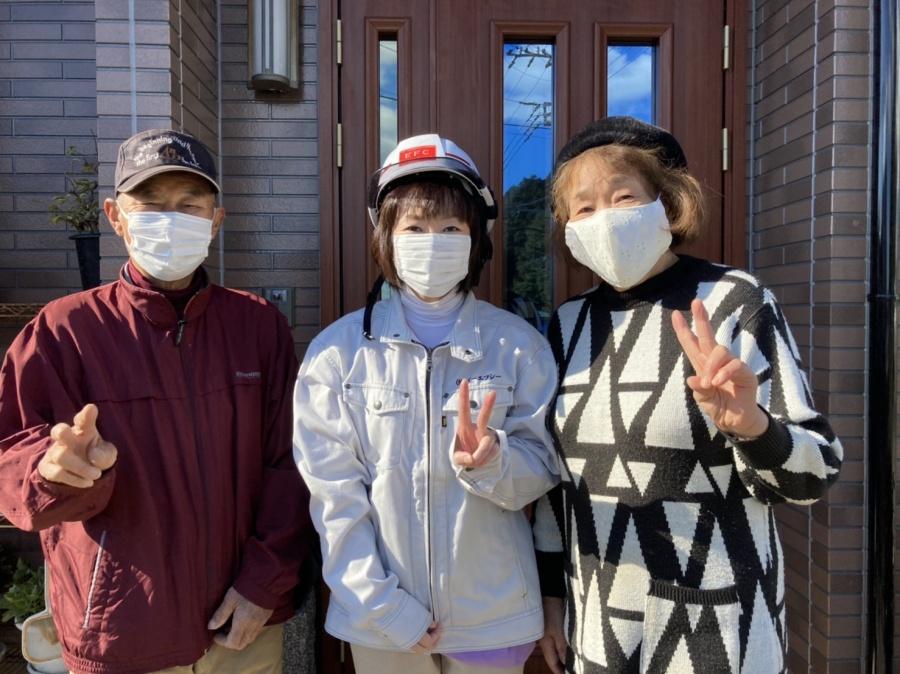 日立市で外壁塗装工事を行なったお客様よりお喜びの声を頂きました(コロナ禍の為マスク着用)