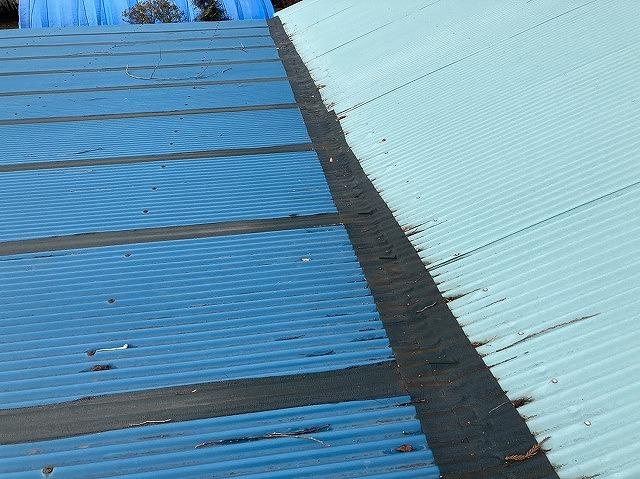 施工前の、鉾田市の作業小屋トタン屋根