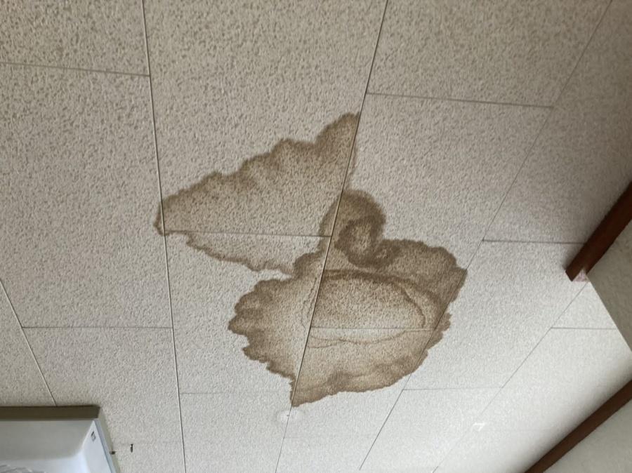 屋根から雨漏りを起こし、リビング天井にできた雨染み