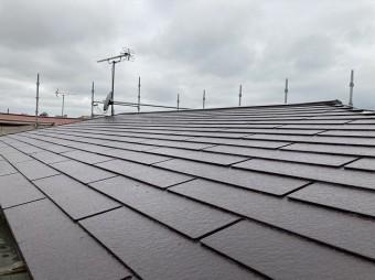 遮熱塗料での塗装が完了した水戸市のコロニアル屋根