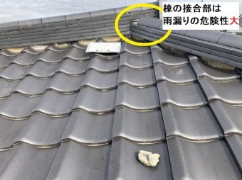 大棟と隅棟の接合部を被う漆喰が脱落している。雨漏りの危険性大