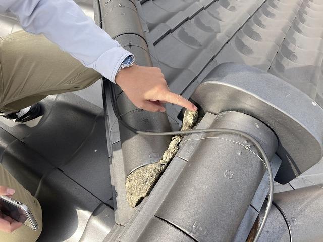 剥がれかかっている棟瓦際の漆喰を確認するスタッフ