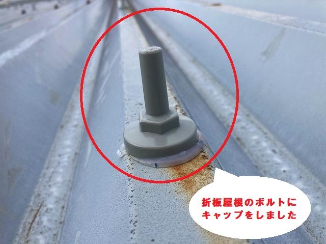 折板屋根のボルトも雨仕舞い