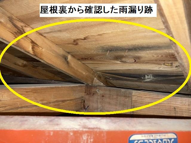 実際に屋根裏に登って確認した野地板への雨漏り跡