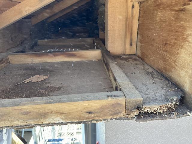 破風板を撤去すると、軒天の内部に雨水が浸水しているのが確認できる