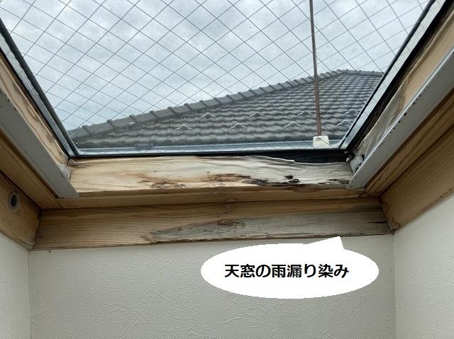 天窓の見切り材が雨漏りにより変色している