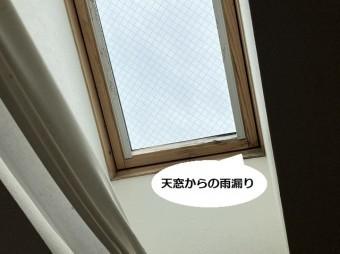 天窓の水下部分に雨漏り箇所が確認できる