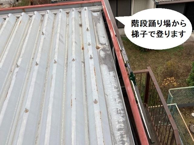 階段の踊り場に梯子を掛けて屋根に登ります