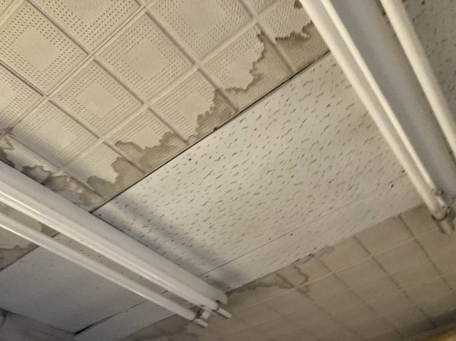 室内天井に色濃く残る雨漏り跡