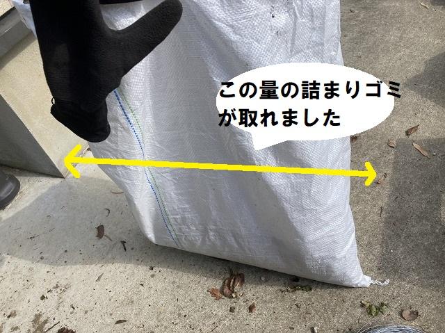 雨樋から除去した袋に入ったゴミ