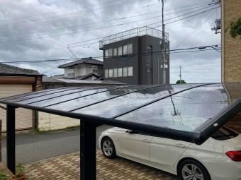 ひたちなか市のアール型カーポート屋根のポリカーボネート板交換の交換工事完了しました