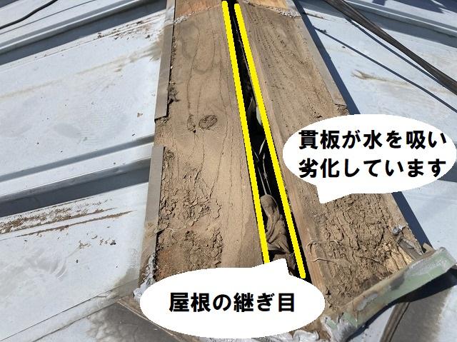 屋根の継ぎ目と貫板の位置関係を示しながら、貫板の劣化具合を解説