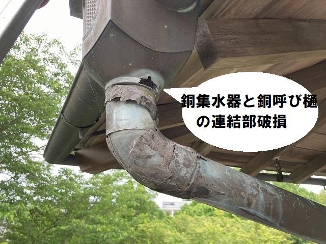 銅集水器と銅呼び樋の連結部が破損している