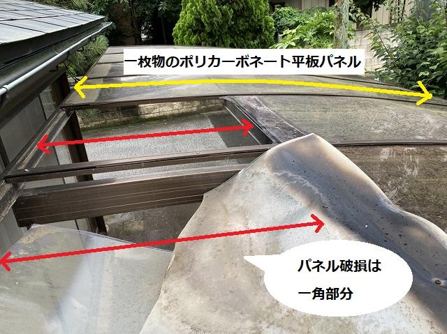 カーポートの格子状アルミ枠は一枚物の平板パネルが付けられていると説明