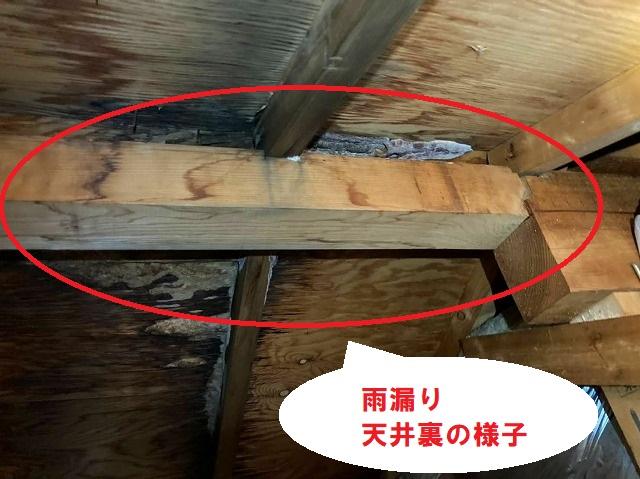 屋根裏から雨漏りの状態を確認すると広範囲の雨染みを確認