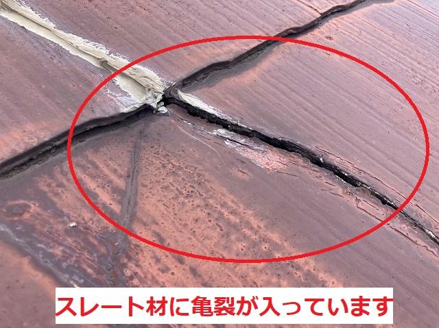 天井に発生した雨漏り箇所の屋根材の亀裂のアップ写真