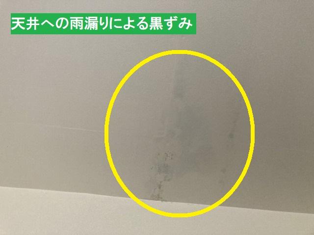 天井への雨漏りによる黒ずみ