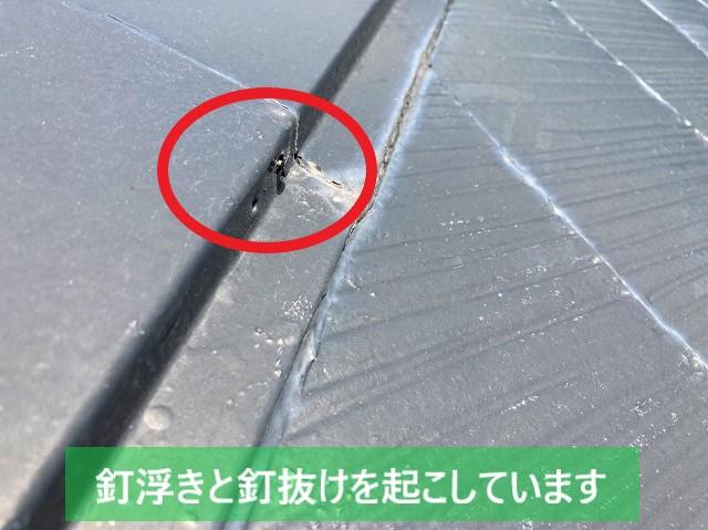 鹿嶋市で発生した棟板金の釘抜けと釘浮き