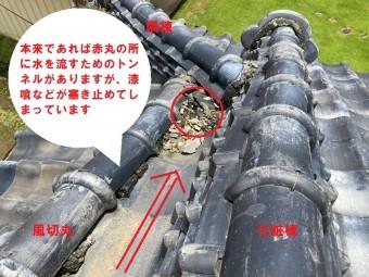 雨漏りは劣化した防水シートと瓦桟の雨塞き止めがトンネルを塞ぎ水を塞き止めている