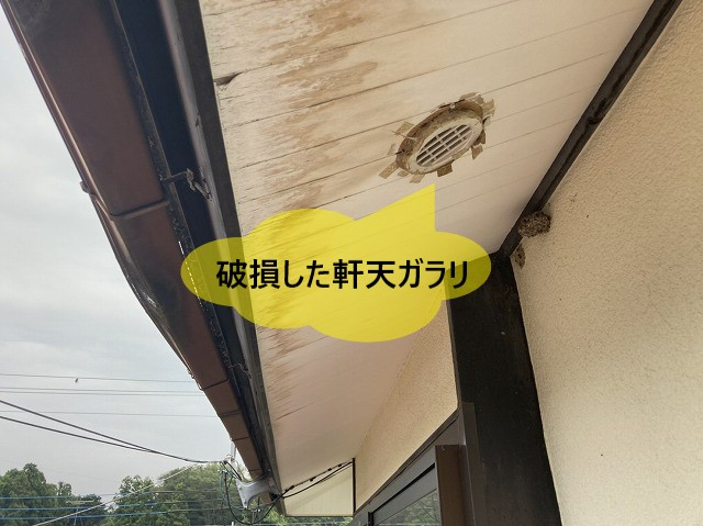 破損した軒天ガラリ