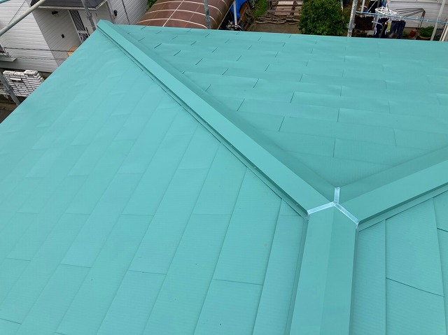 笠間市で屋根カバー工事、完工後の写真