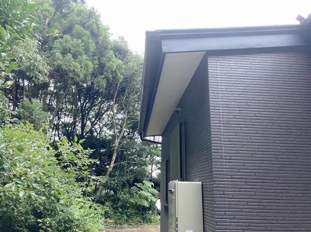 雨樋に落ち葉除けネット設置