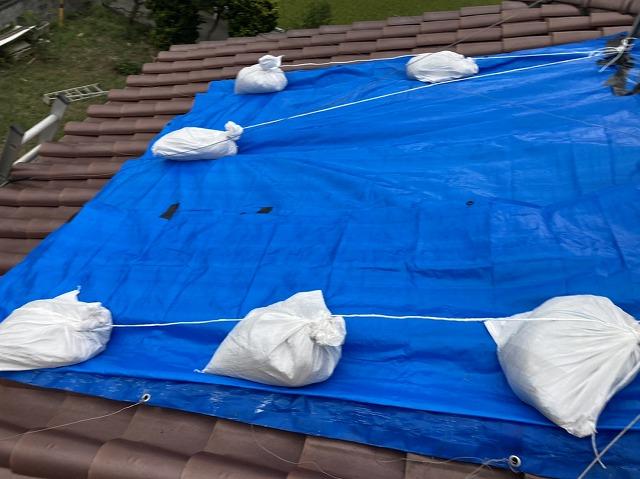 雨漏り応急処置として、屋根にブルーシートを設置