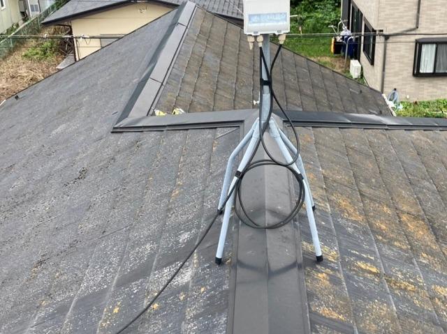 屋根工事前の小美玉市のスレート屋根