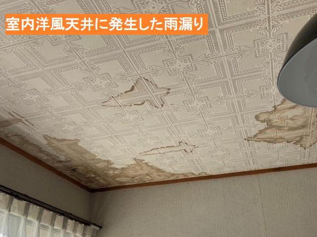 室内の洋室天井に発生した雨漏り