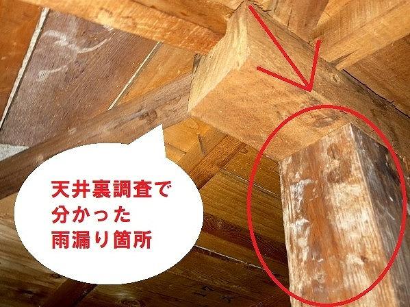 天井裏の調査で雨漏り箇所を確認