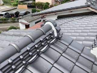 水戸市の和瓦屋根の漆喰工事が行なわれきれいに仕上がっています
