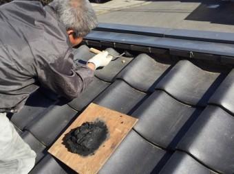 屋根南蛮漆喰にて補修