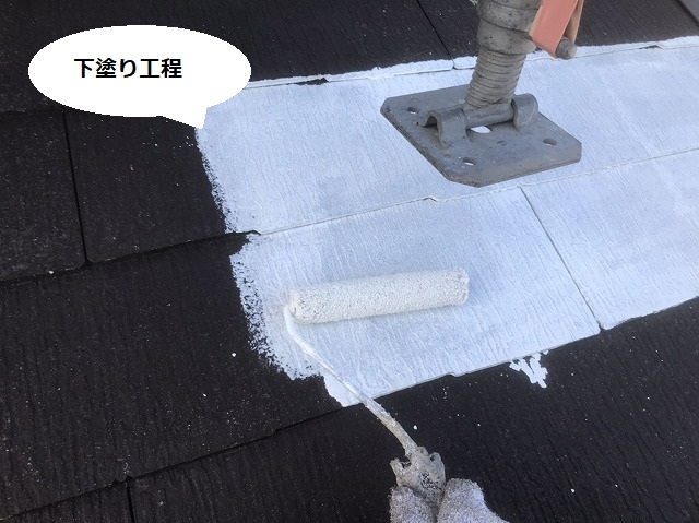 足場の脚を廻しあげて隙間に下塗り塗料を塗布
