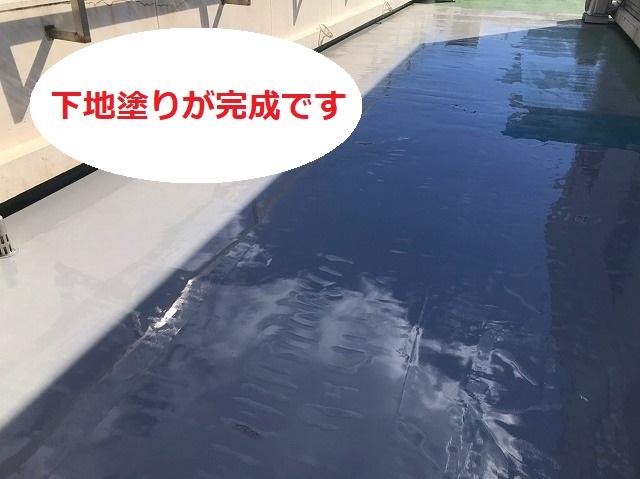 屋上防水工事の下塗りが完了です