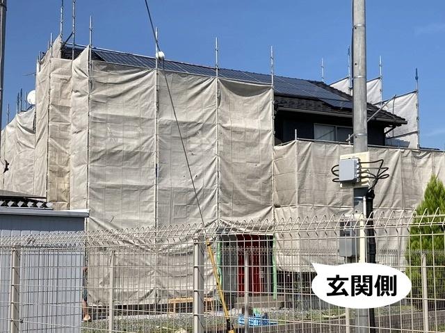 茨城県近郊の足場設置玄関側