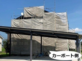 茨城県近郊の足場設置カーポート側