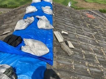 セメント瓦の棟部分に被されたブルーシート