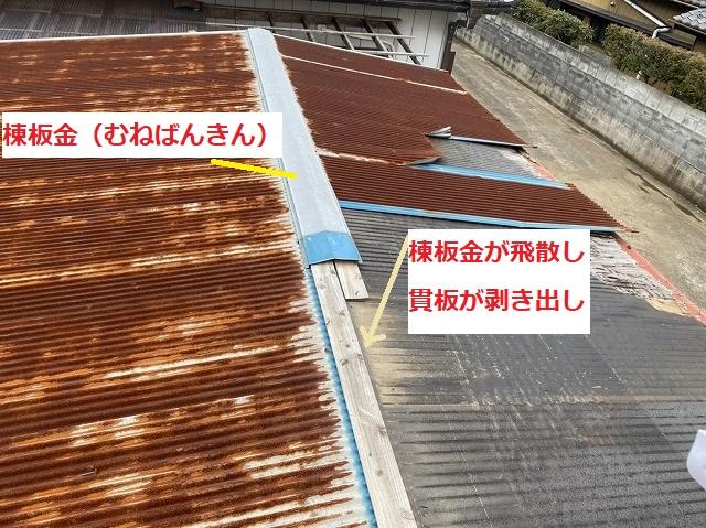 棟板金が飛散し貫板が露出