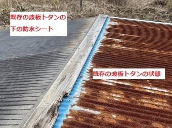 既存の錆ついた波トタンと下地に敷いてあった防水シートの比較
