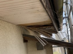 施工前の玄関先面の軒天破損状況