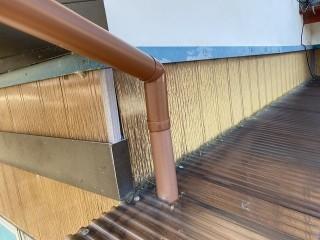 笠間市での1階の呼び樋外れの修理後の画像