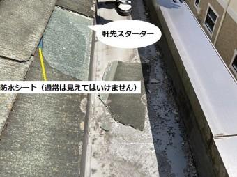 化粧スレートが破損し軒先スターターを下地の防水シートも露出