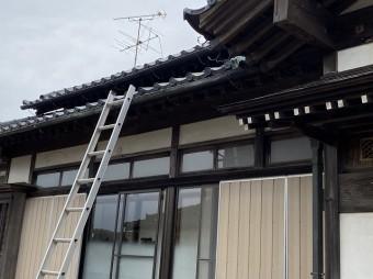 平側屋根に梯子を掛ける