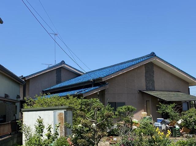 結城市の地震で棟が崩れたとご連絡を頂いたお宅の風景