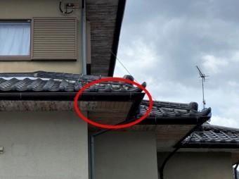 軒天破損調査数年前の補修の跡